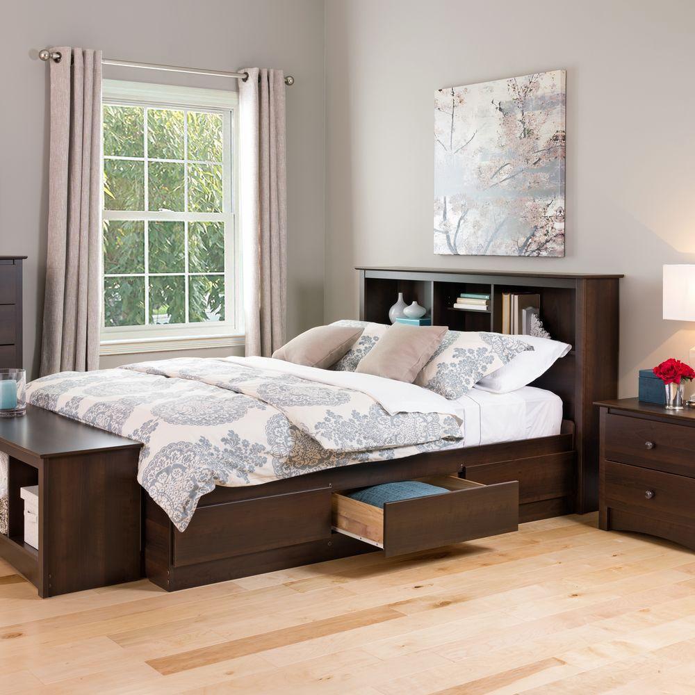 Espresso Queen Mates Platform Storage Bed with 6 Drawers