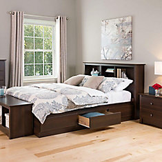 Prepac Fremont Queen Wood Storage Bed The Home Depot Canada