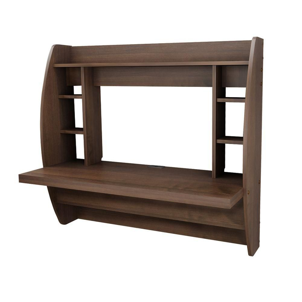 Floating Wall-Mounted Desk with Storage in Espresso