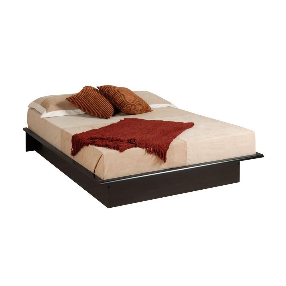prepac base de lit plateforme de grand format noire. Black Bedroom Furniture Sets. Home Design Ideas