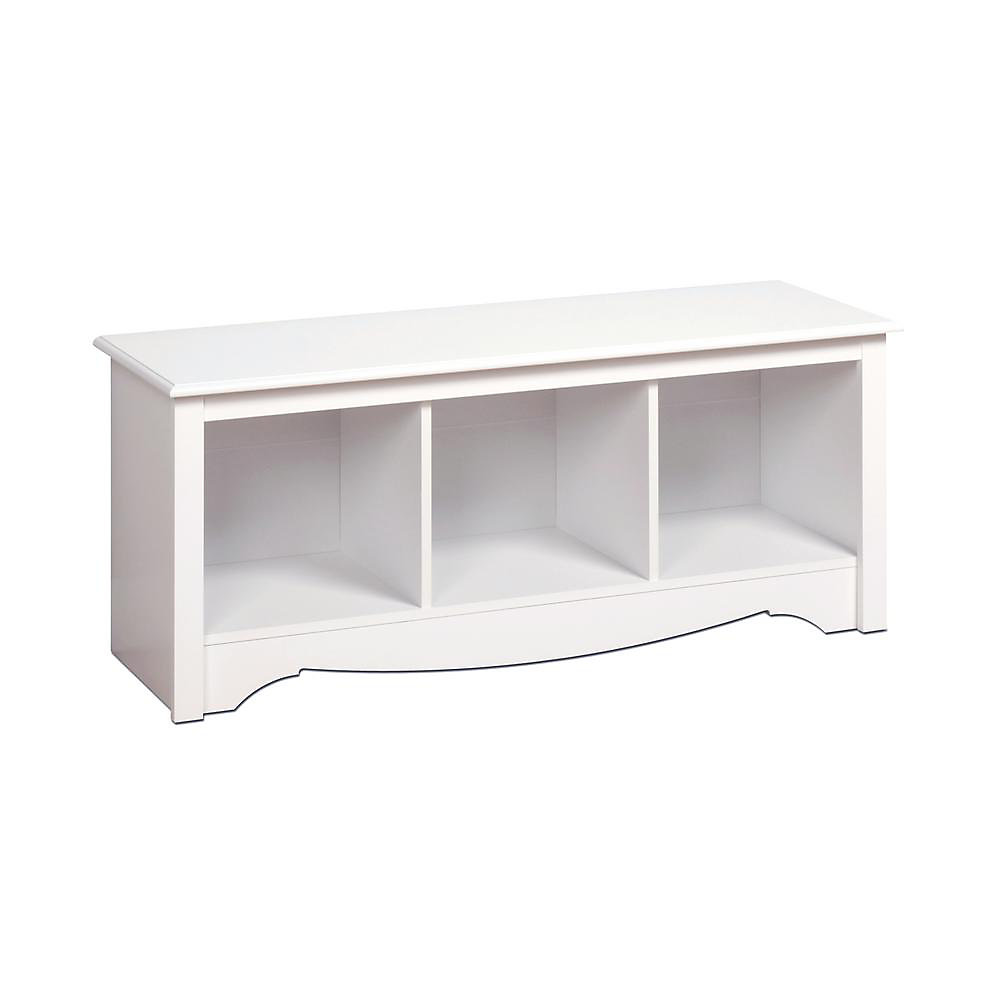 48-inch x 15.75-inch x 20-inch 3-Cubby Storage Bench in White