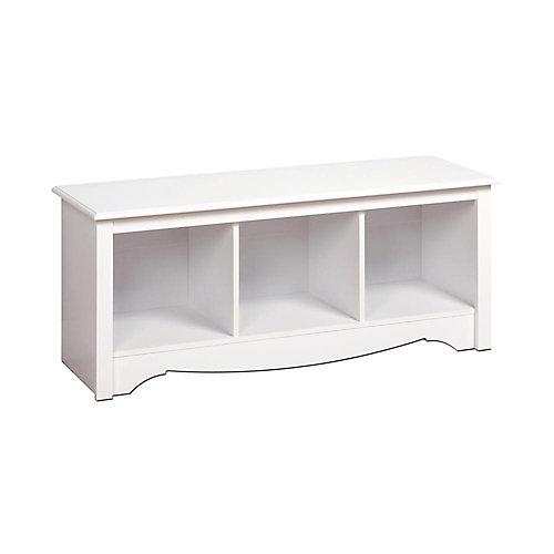 48-inch x 15.75-inch x 20-inch 3-Cubby Storage Bench in White