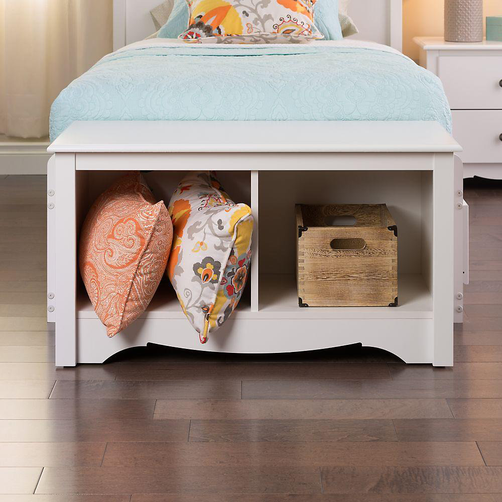 36.25-inch x 20-inch x 15.75-inch Solid Wood Frame Bench in White