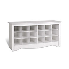48 Inch Shoe Storage Cubby Bench In White