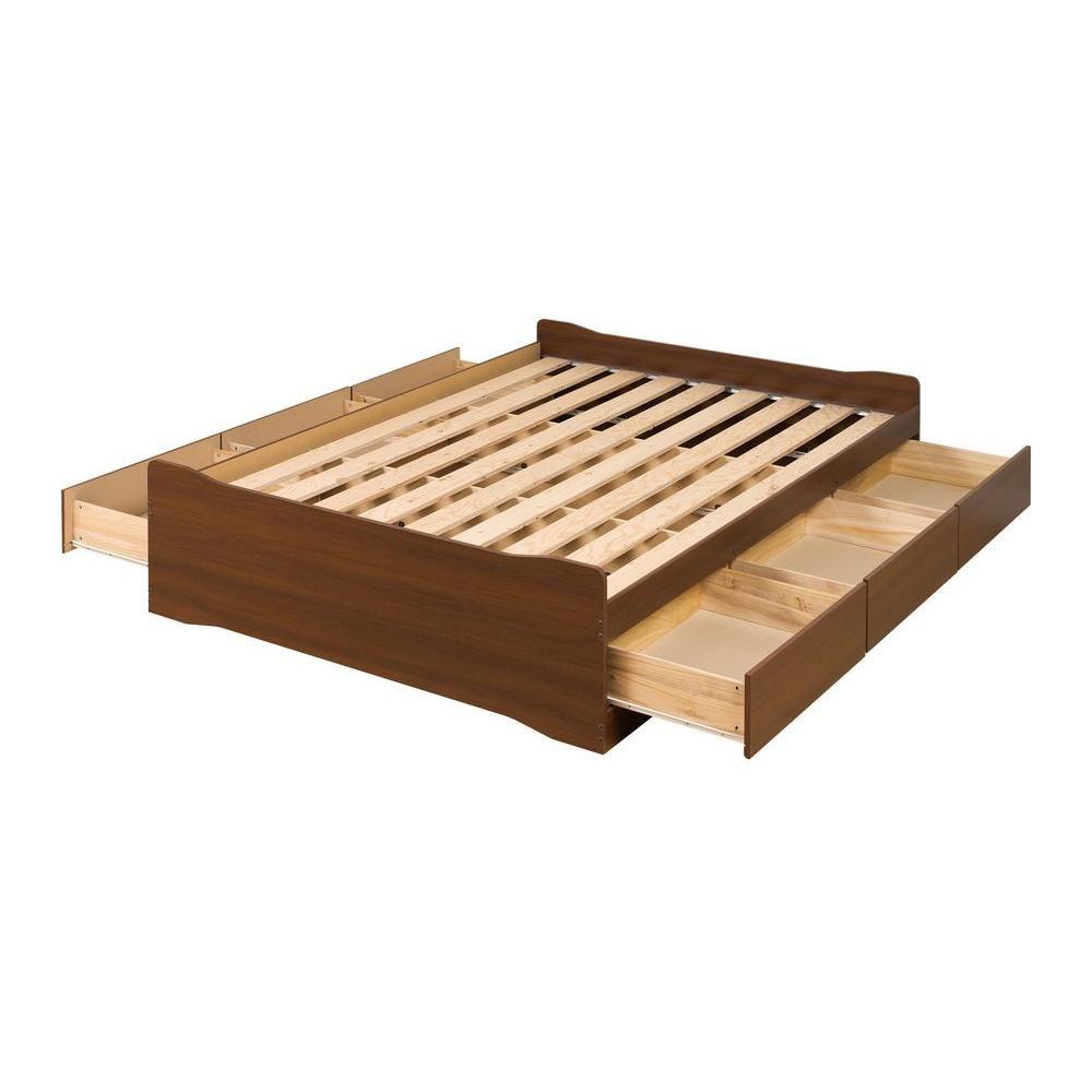 Base de lit matelot Coal Harbor à six tiroirs pour grand lit, fini cerisier foncé