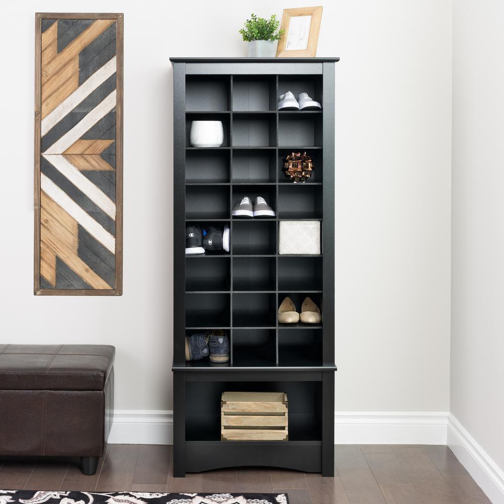Grande armoire à compartiments pour chaussures, noire