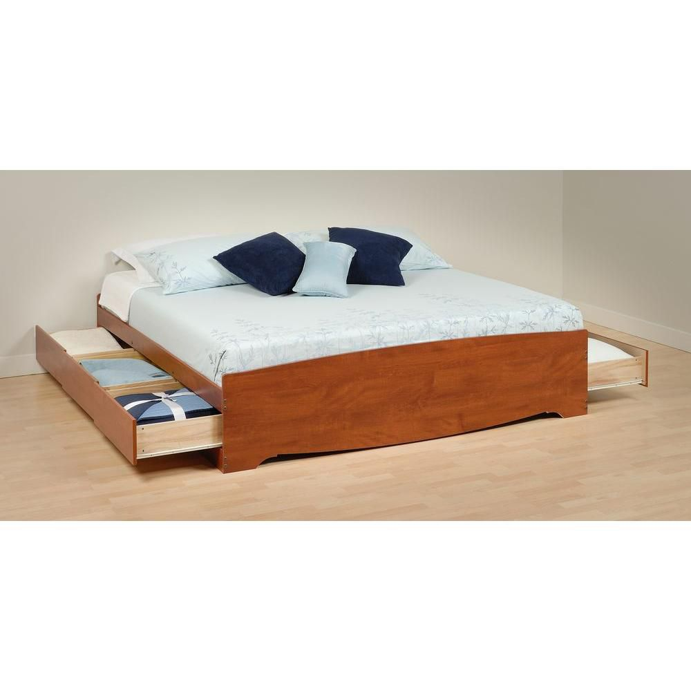 Cherry King Mates Platform Storage Bed with 6 Drawers