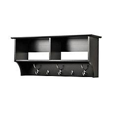 Black 36 Inch Wide Hanging Entryway Shelf