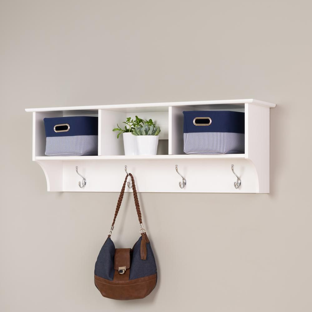 storage organization at mounted with pl prepac com stands wall furniture rack hooks coat shop shelf racks white hook lowes