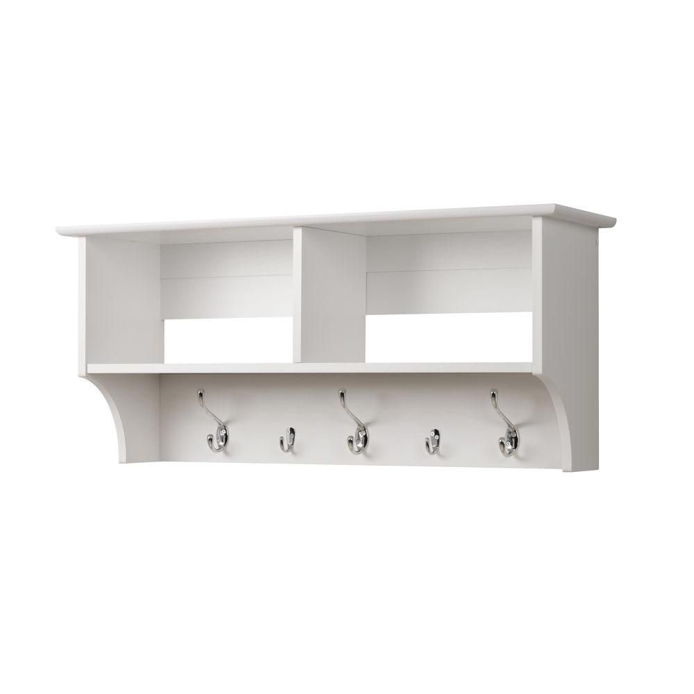 White 36 Inch Wide Hanging Entryway Shelf