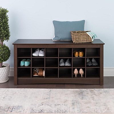 Prepac 48 Inch Shoe Storage Cubby Bench In Espresso The Home Depot Canada