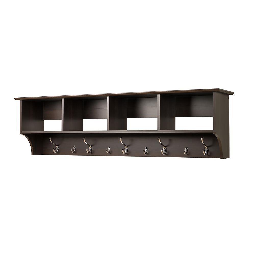 Espresso 60 Inch Wide Hanging Entryway Shelf