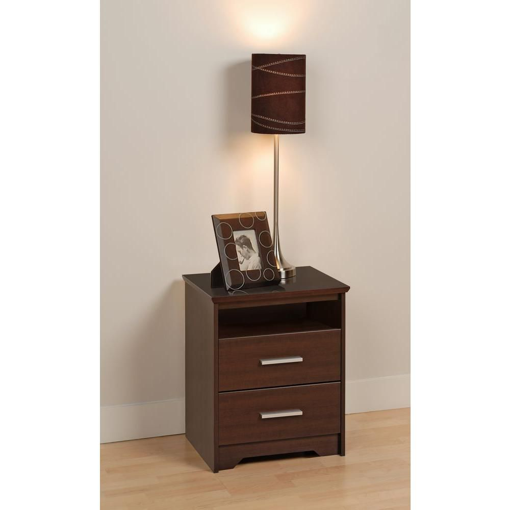 Espresso Coal Harbor 2 Drawer Tall Nightstand with Open Shelf