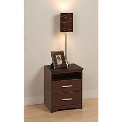 Prepac Coal Harbour 20.5-inch x 27-inch x 15.75-inch 2-Drawer Nightstand in Espresso
