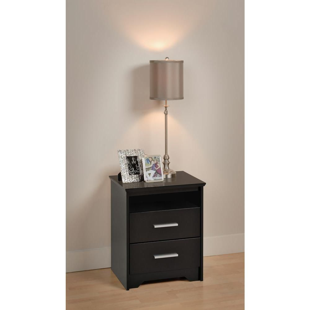 Black Coal Harbor 2 Drawer Tall Nightstand with Open Shelf