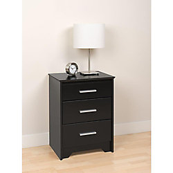 Prepac Coal Harbour 20.5-inch x 27-inch x 15.75-inch 3-Drawer Nightstand in Black
