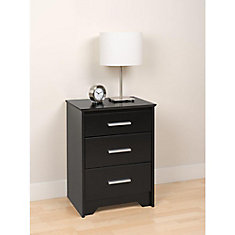 Coal Harbour 20.5-inch x 27-inch x 15.75-inch 3-Drawer Nightstand in Black