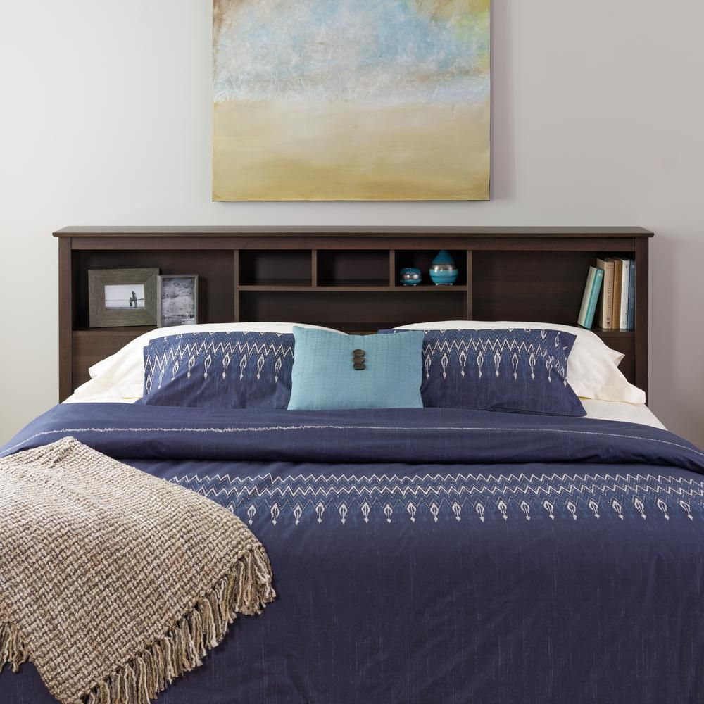 prepac t te de lit biblioth que pour tr s grands lits fini espresso home depot canada. Black Bedroom Furniture Sets. Home Design Ideas