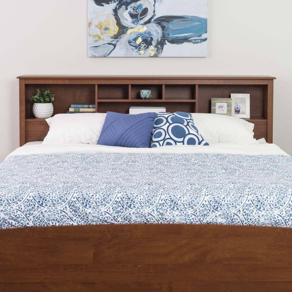 Dossier de lit à compartiments pour très grand lit, fini cerisier