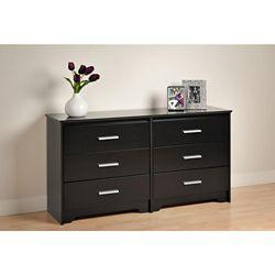 Prepac Coal Harbour 60-inch x 29.5-inch x 15.75-inch 6-Drawer Dresser in Black