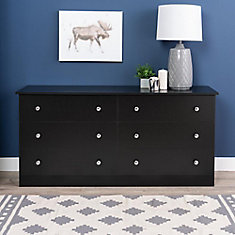 Edenvale 58.5-inch x 28.25-inch x 16-inch 6-Drawer Dresser in Black