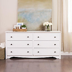 Monterey 60-inch x 29-inch x 16-inch 6-Drawer Dresser in White