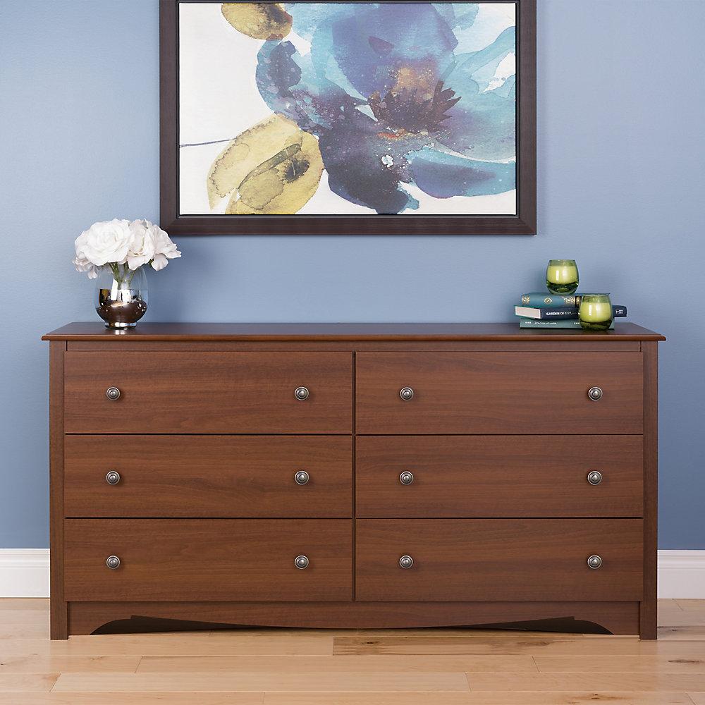 Prepac Cherry 60 Inch X 29 16 6 Drawer Dresser In