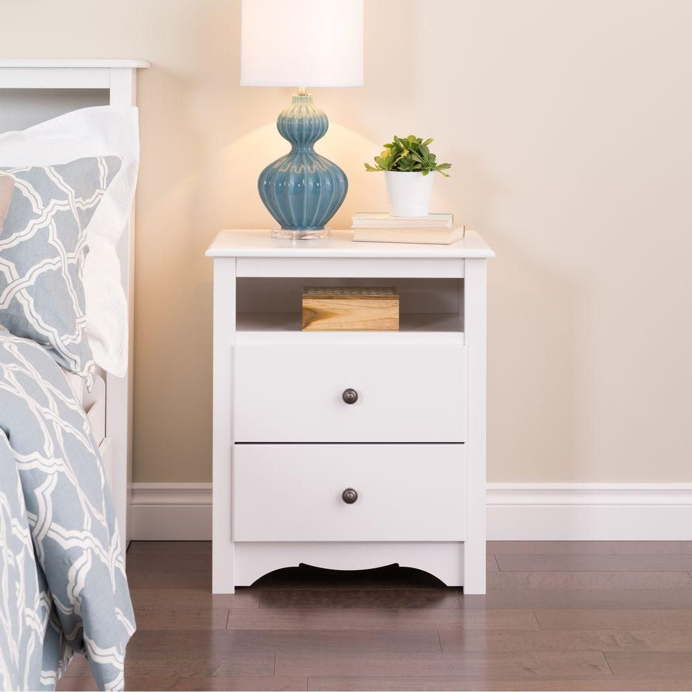 prepac white monterey tall 2 drawer nightstand with open