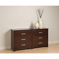 Prepac Coal Harbour 60-inch x 29.5-inch x 15.75-inch 6-Drawer Dresser in Espresso