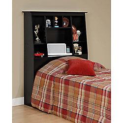 Prepac Black Twin Tall Slant-Back Bookcase Headboard