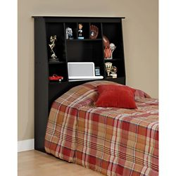 Prepac Black Twin Tall Slant-Back Bookcase Headboard