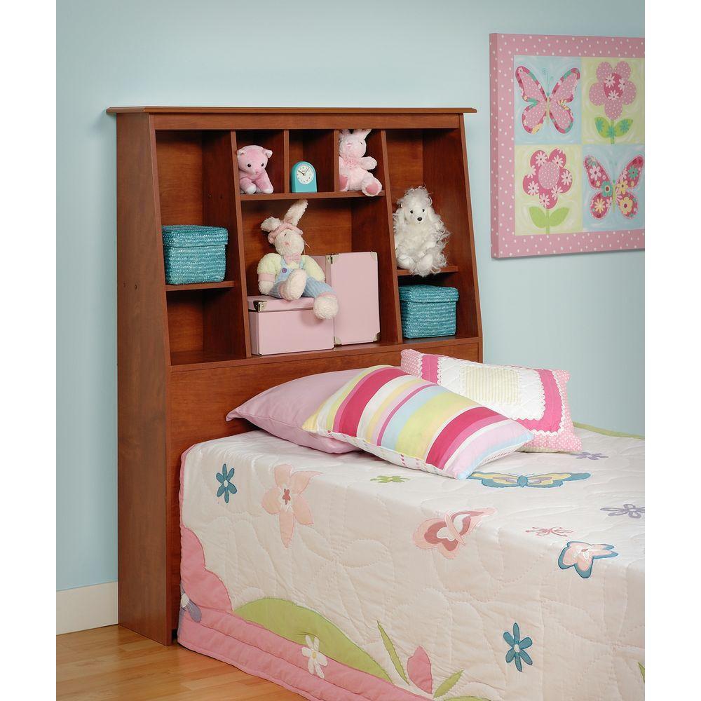 Prepac Cherry Twin Tall Slant-Back Bookcase Headboard
