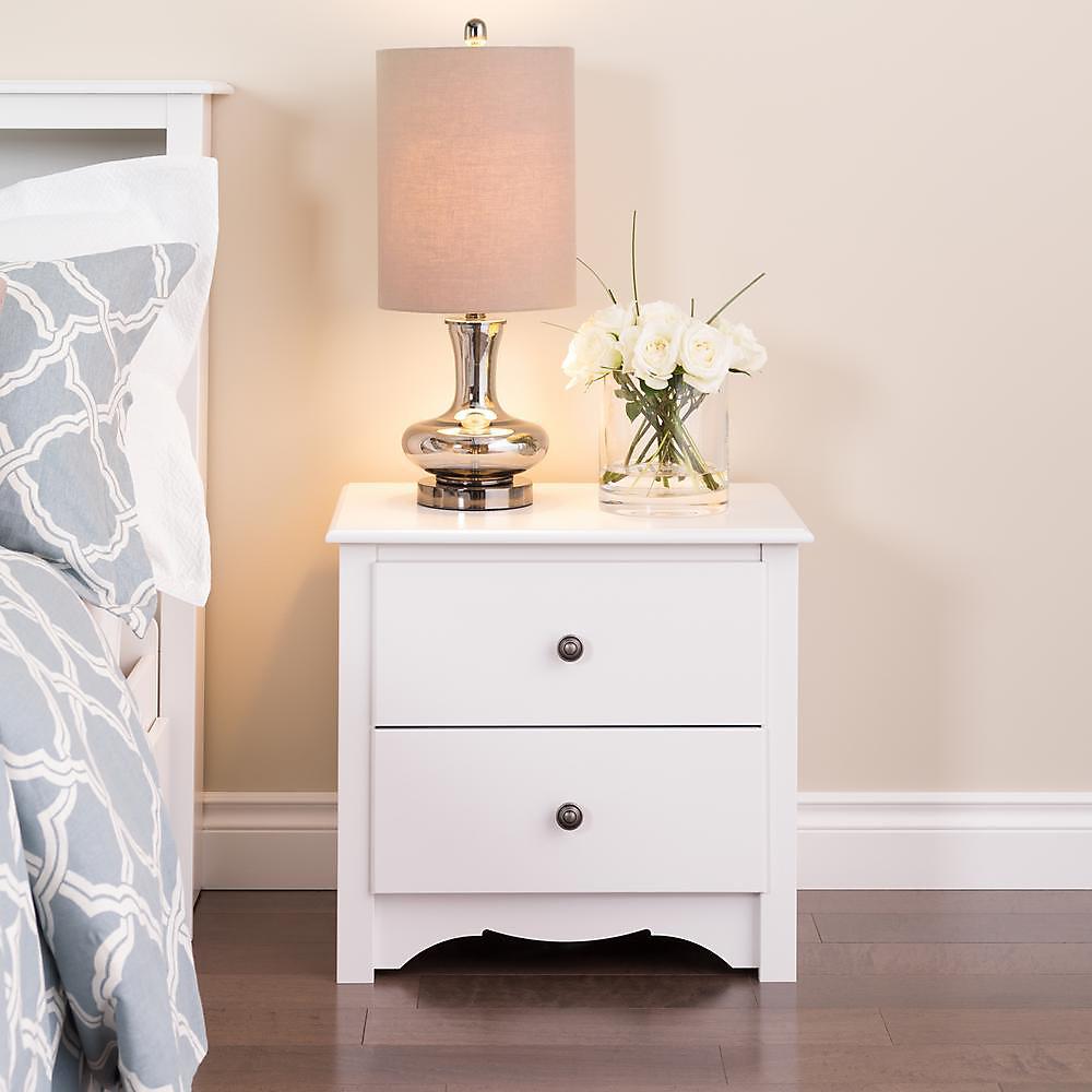 Monterey 23.25-inch x 21.75-inch x 16-inch 2-Drawer Nightstand in White