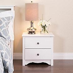 Table de nuit à 2tiroirs Monterey, 23,25po x 21,75po x 16po, blanc