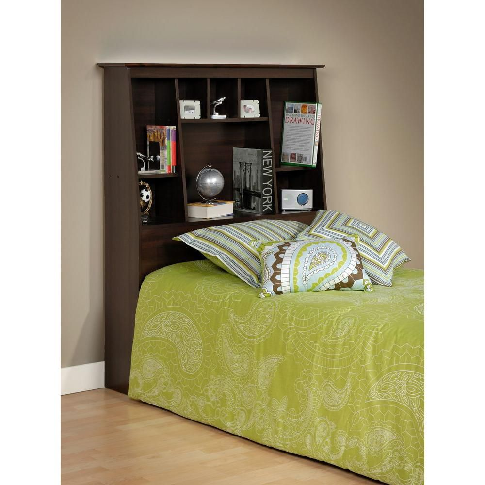 Espresso Twin Tall Slant-Back Bookcase Headboard
