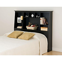 Prepac Black Full/Queen Tall Slant-Back Bookcase Headboard