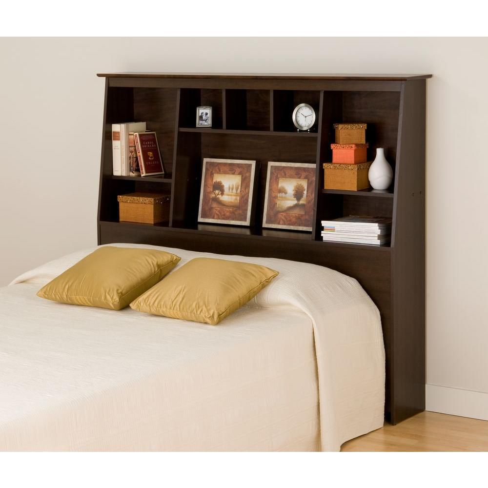 Prepac Espresso Full/Queen Tall Slant-Back Bookcase Headboard