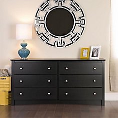 Sonoma 60-inch x 29-inch x 16-inch 6-Drawer Dresser in Black