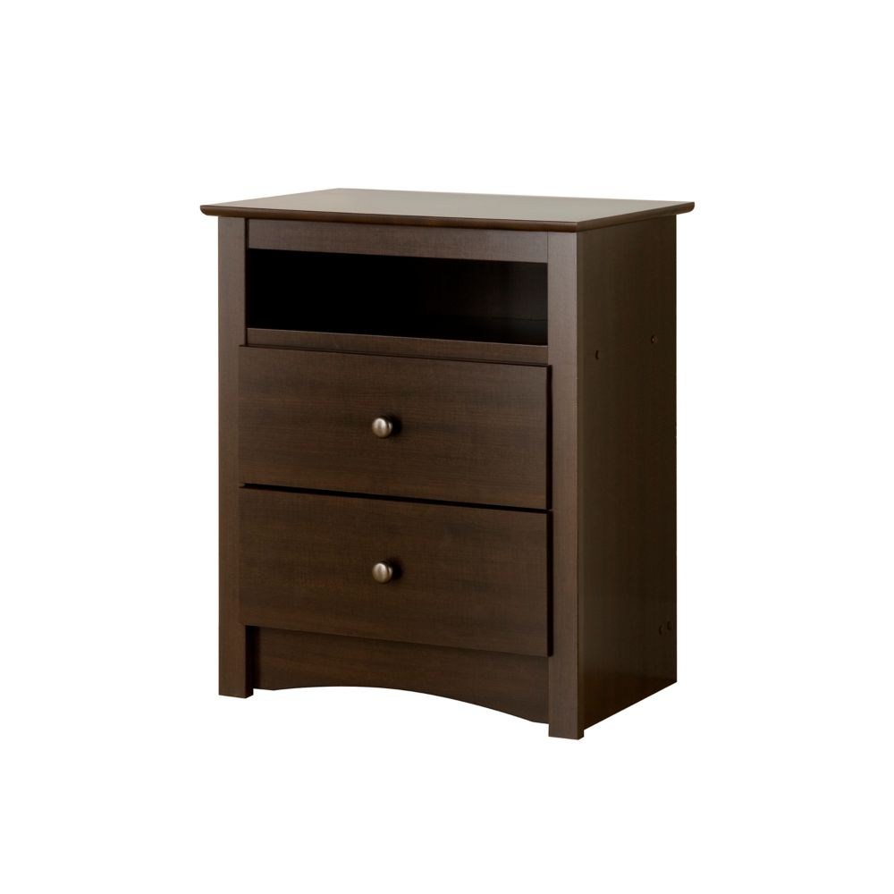 Espresso Fremont Tall 2 Drawer Nightstand with Open Shelf