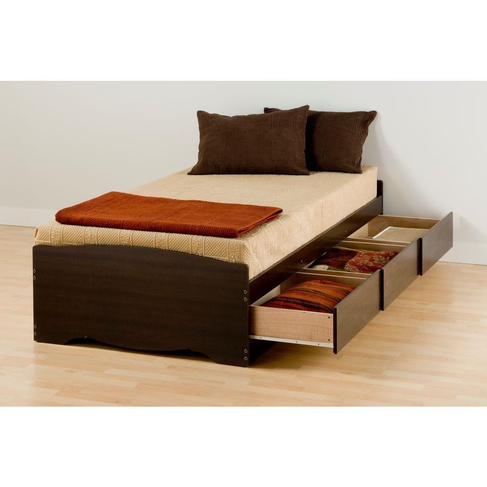 Base de lit matelot simple extra-longue à trois tiroirs, expresso