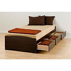 Prepac Espresso Twin XL Mates Platform Storage Bed with 3 Drawers