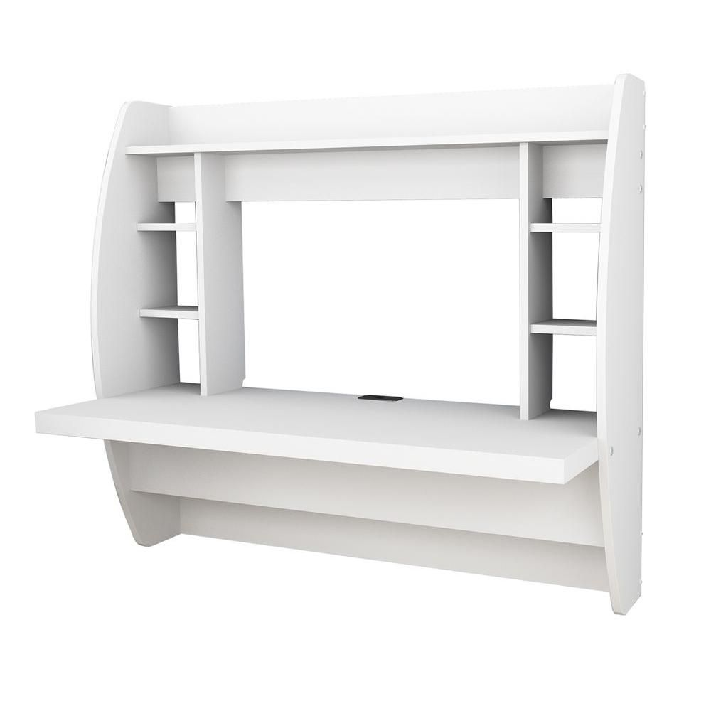 Floating Wall-Mounted Desk with Storage in White
