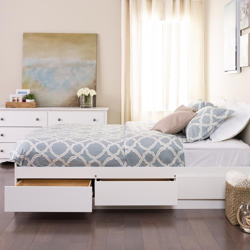 Prepac Twin Mate's Platform Storage Bed in White with 3 Drawers
