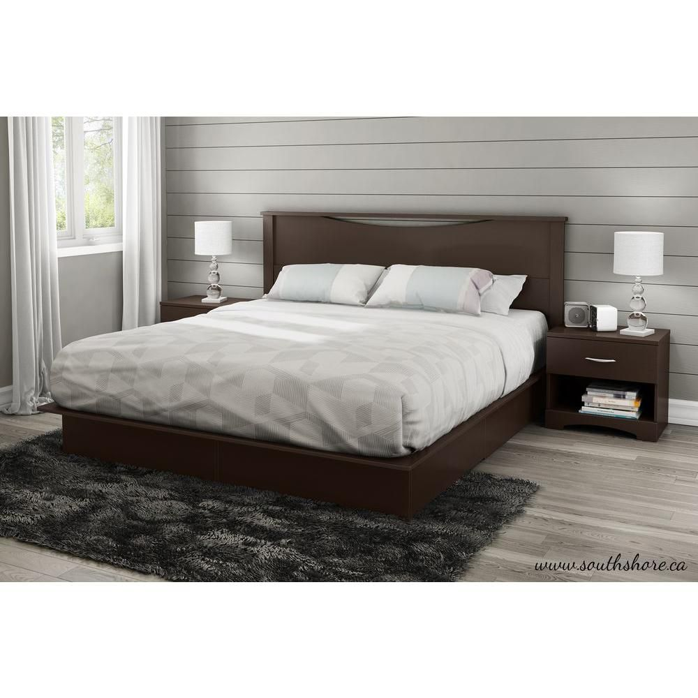 Lux King-Size 2-Drawer Platform Bed Chocolate