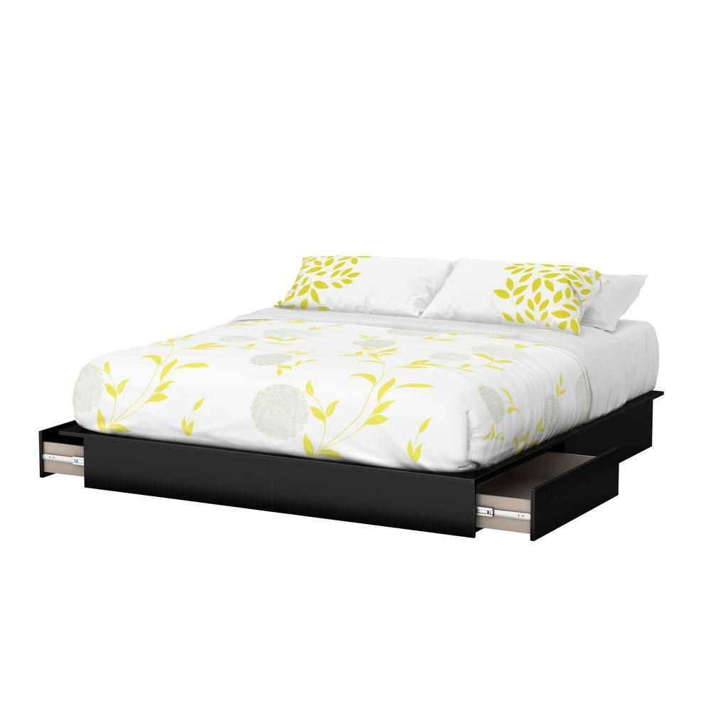 Majestic King-Size 2-Drawer Platform Bed Pure Black