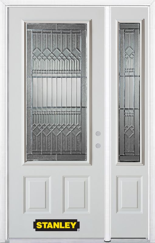 Stanley Doors 48.25 inch x 82.375 inch Lanza Patina 3/4 Lite 2-Panel Prefinished White Left-Hand Inswing Steel Prehung Front Door with Sidelite and Brickmould