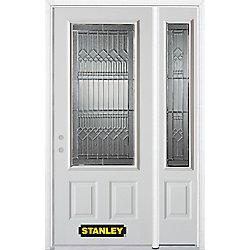 Stanley Doors Porte dentrée en acier préfini en blanc, munie de deux panneaux et dun 3/4 verre, 49 po x 82 po avec panneaux latéraux et moulure de brique - ENERGY STAR®