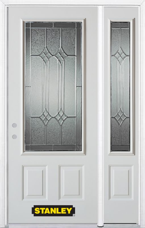 Stanley Doors 50.25 inch x 82.375 inch Orleans Patina 3/4 Lite 2-Panel Prefinished White Right-Hand Inswing Steel Prehung Front Door with Sidelite and Brickmould