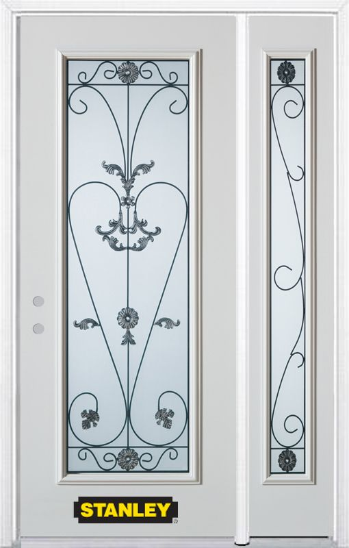 50-inch x 82-inch Blacksmith Full Lite White Steel Entry Door with Sidelite and Brickmould
