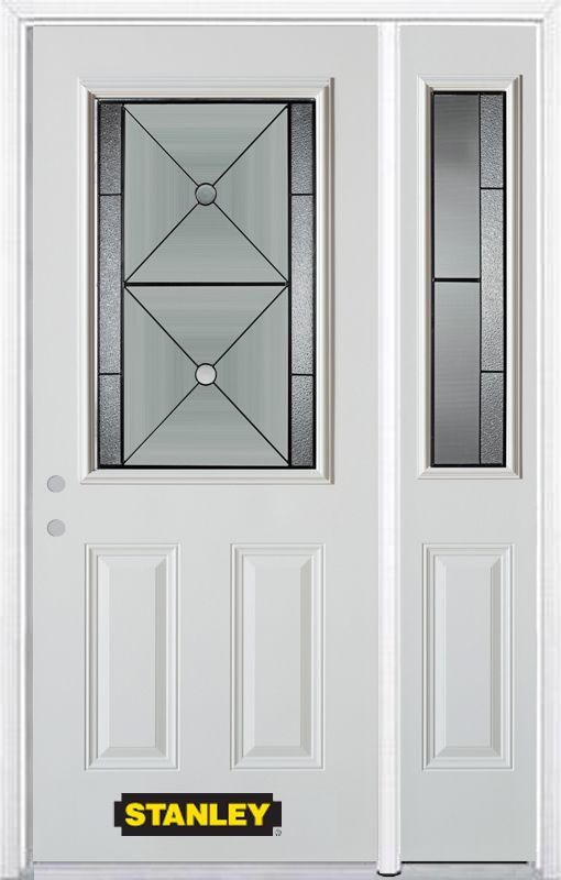 48-inch x 82-inch Bellochio 1/2-Lite 2-Panel White Steel Entry Door with Sidelite and Brickmould